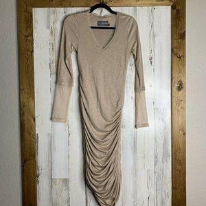 Abi Ferrin tan ruched long sleeve mesh dress